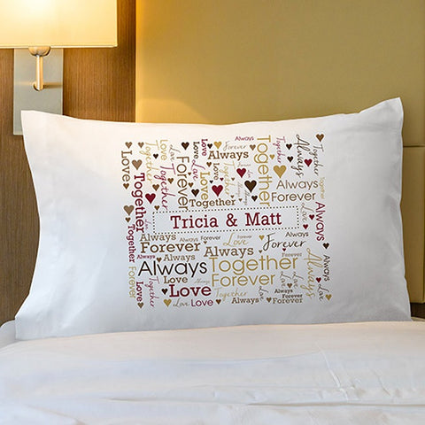 Personalized Loving Couple Word-Art Pillowcase