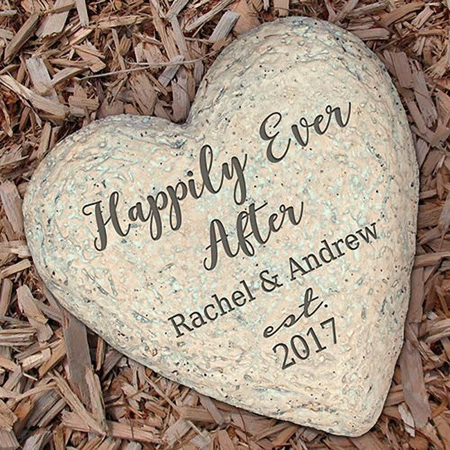 Personalized Happily Ever After Heart Garden Stone