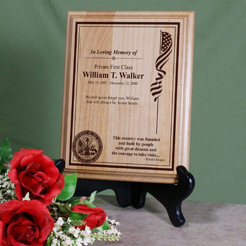 Personalized Military Memorial Wood Plaque