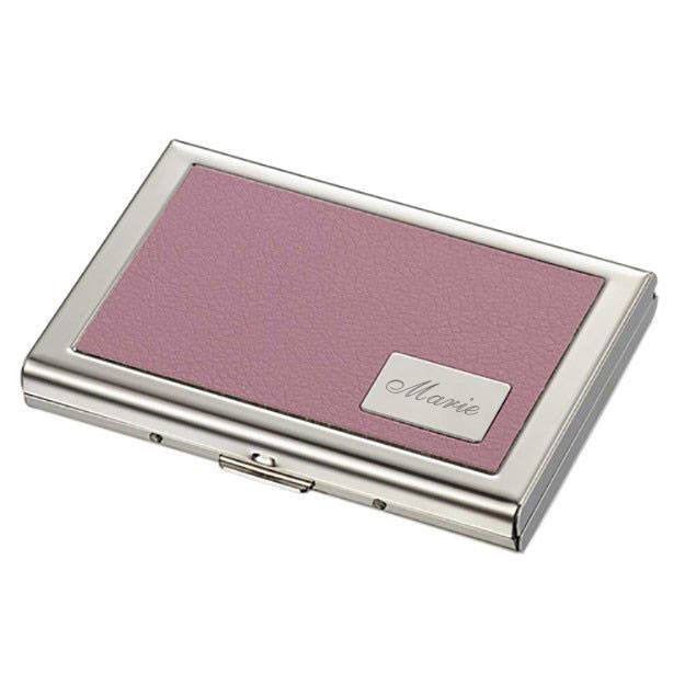 Delilah Pink Leather Credit Card Case - Personalized