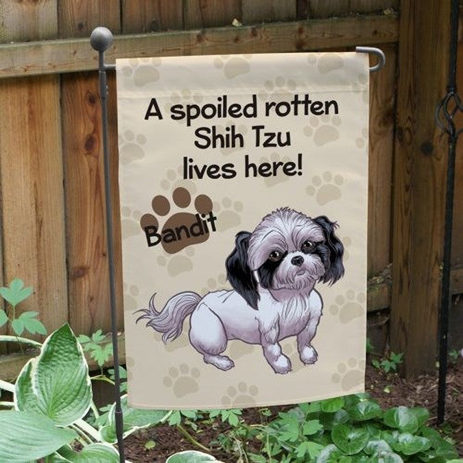 Personalized Shih Tzu Spoiled Here Garden Flag