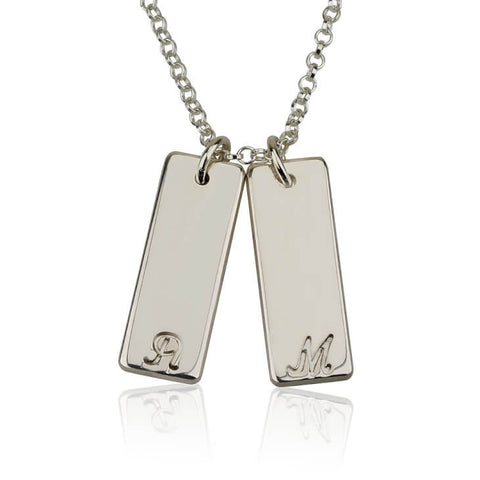 Personalized Silver Small Vertical Bar Initial Necklace