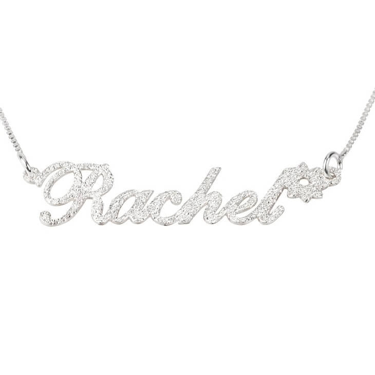 Personalized Silver Sparkling Name Necklace with Flower