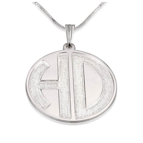 Personalized Sterling Silver 2 Sparkling Letters Monogram Necklace