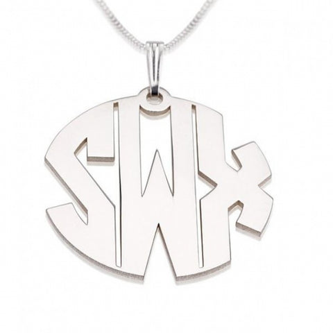 Personalized Sterling Silver Capital Letters Monogram Necklace