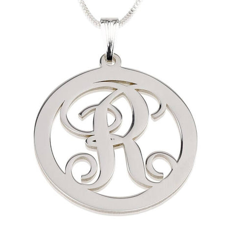 Personalized Sterling Silver Circle Initial Necklace