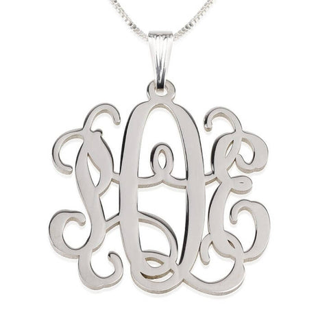 Personalized Sterling Silver Curly Monogram Necklace