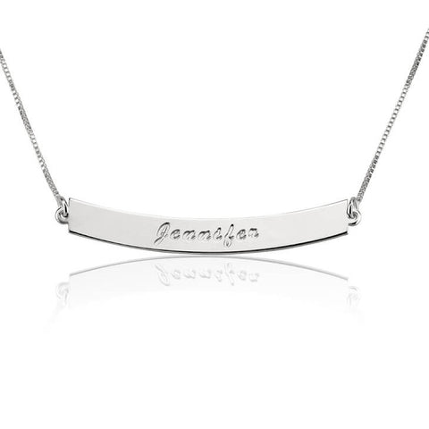Personalized Sterling Silver Curved Bar Necklace with Name