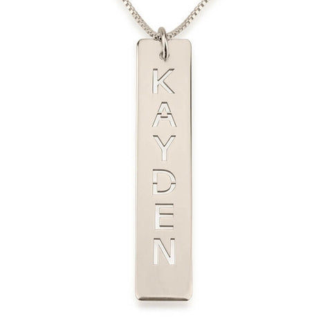 Personalized Sterling Silver Cut Out Vertical Bar Necklace