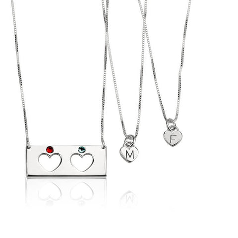 Personalized Sterling Silver Engraved Birthstone Bar Mother Daughter Necklace Set