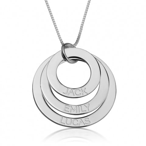 Personalized Sterling Silver Engraved Rings Mother Necklace