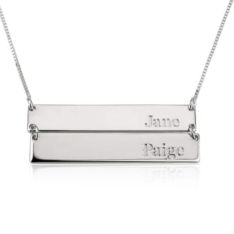 Personalized Sterling Silver Engraved Stacked Bar Necklace