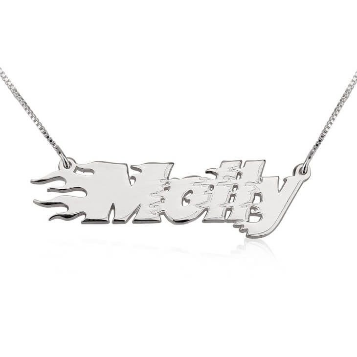 Personalized Sterling Silver Fire Line Name Necklace