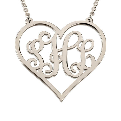 Personalized Sterling Silver Heart Monogram Necklace