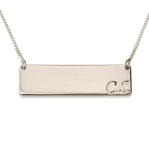 Personalized Sterling Silver Horizontal Initials Bar Necklace