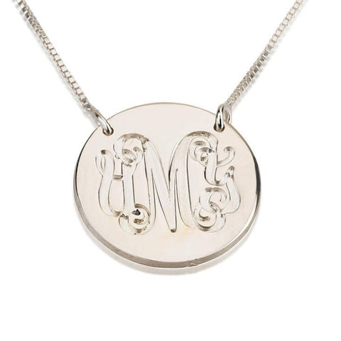 Personalized Sterling Silver Medallion Monogram Necklace