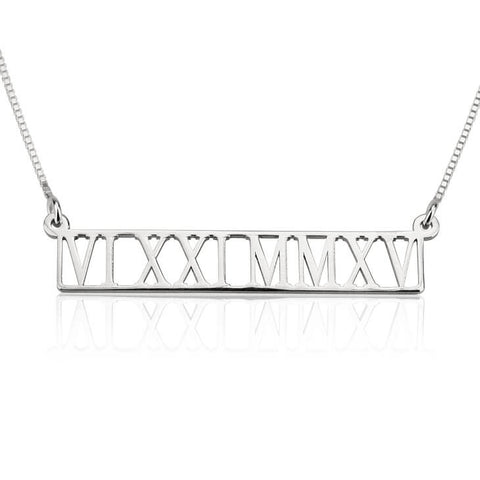 Personalized Sterling Silver Roman Numeral Cut Out Necklace