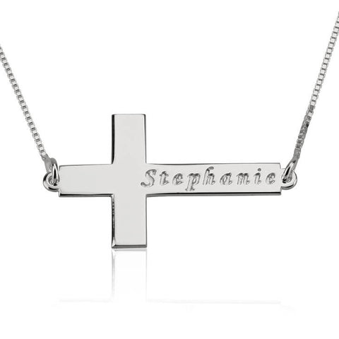 Personalized Sterling Silver Sideways Cross Necklace with Name