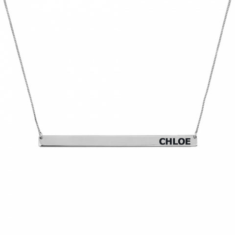 Personalized Sterling Silver Sterling Silver Skinny Bar Necklace