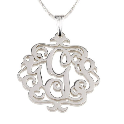 Personalized Sterling Silver Swirly Monogram Necklace