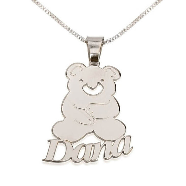 Personalized Sterling Silver Teddy Bear Pendant with Name