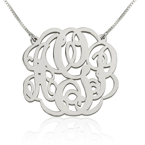 Personalized Sterling Silver Twisted Split Chain Monogram Necklace