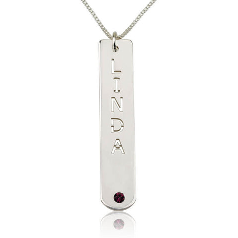Personalized Sterling Silver Vertical Bar Necklace with Birthstone