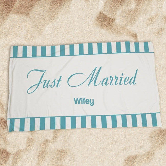 Personalized Wedding Get Away Design Beach Towel
