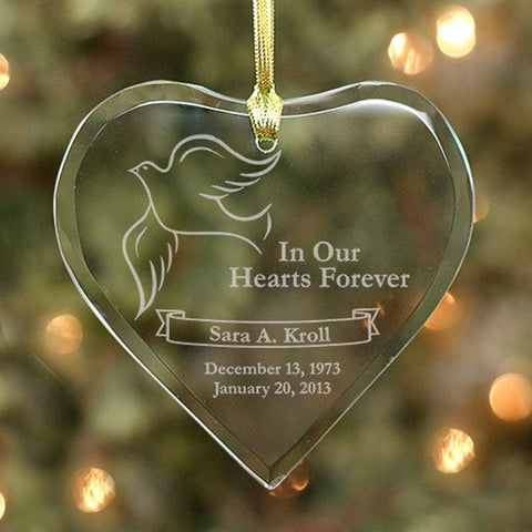 Personalized Hearts Forever Dove Memorial Ornament