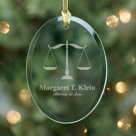 Personalized Lawyer Oval Glass Ornament