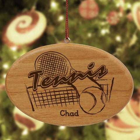 Personalized Tennis Wooden Oval Ornament