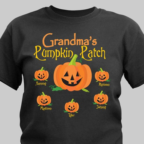 Personalized Pumpkin Family Black T-Shirt