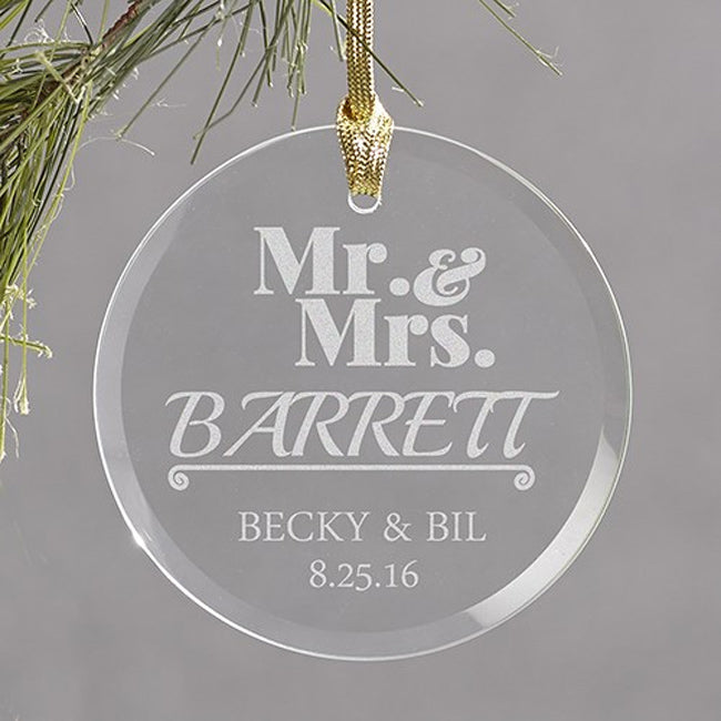 Personalized Engraved Mr & Mrs Round Glass Ornament