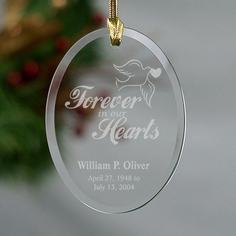 Personalized Forever In Our Hearts Oval Remembrance Ornament