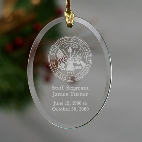 Personalized U.S. Army Memorial Oval Glass Ornament