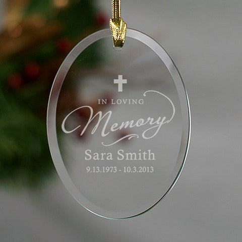 Personalized In Loving Memory Cross Glass Ornament