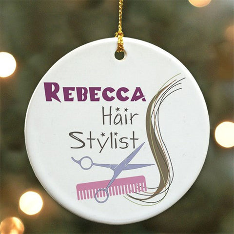 Personalized Hair Stylist Ceramic Ornament