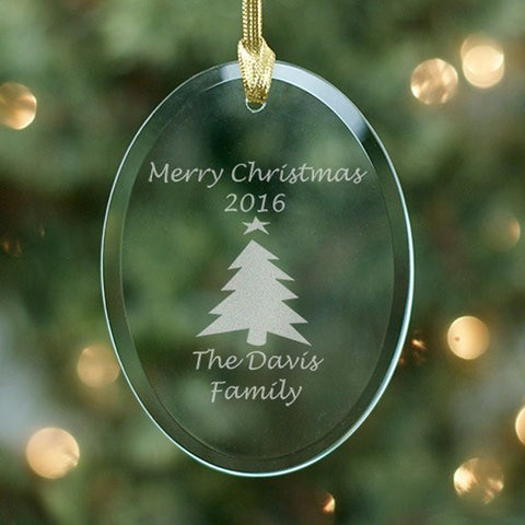 Personalized Merry Christmas Glass Ornament With 8 Christmas Designs
