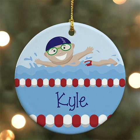 Personalized Boy Swimmer Ornament