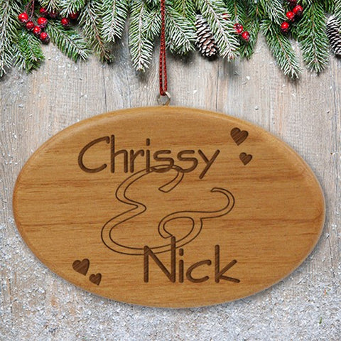 Personalized Engraved Couples Wooden Oval Ornament