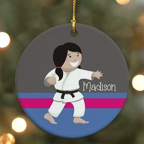 Personalized Ceramic Girl Karate Ornament