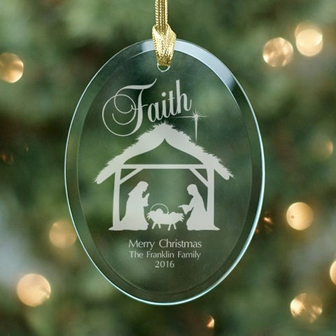 Personalized Engraved Nativity Oval Glass Ornament