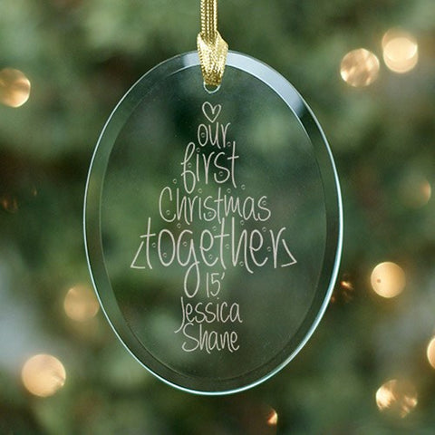Personalized Engraved Our First Christmas Oval Glass Ornament