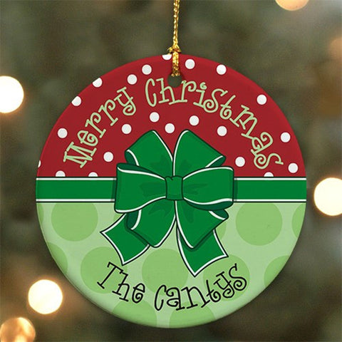 Personalized Round Merry Christmas Ornament