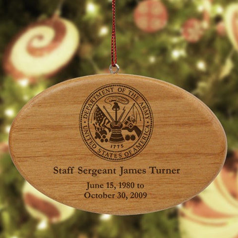 Personalized Engraved U.S. Army Memorial Ornament