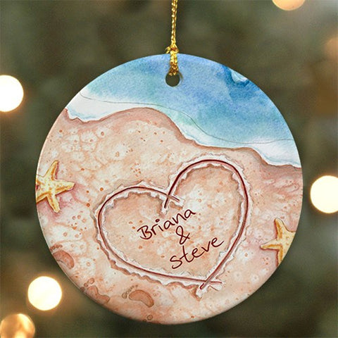 Personalized Couples Beach Christmas Ornament