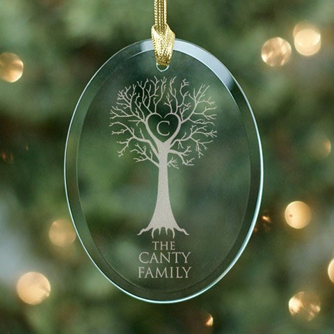 Personalized Engraved Family Tree Oval Glass Ornament
