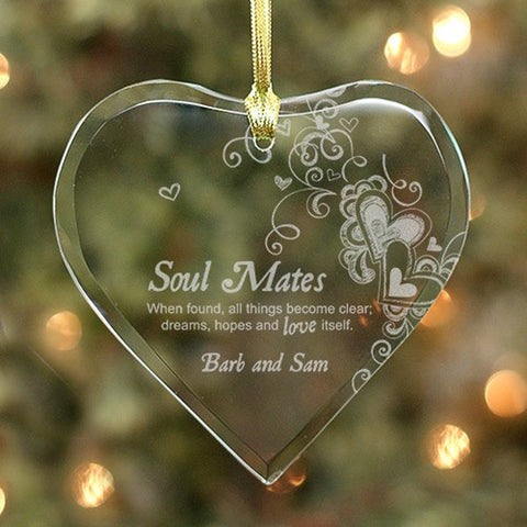 Personalized Engraved Soul Mates Glass Heart Ornament