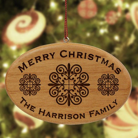 Personalized Engraved Merry Christmas Family Wooden Ornament