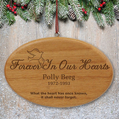 Personalized Forever In Our Hearts Wooden Christmas Ornament
